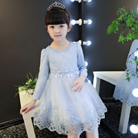 4 12year Autumn Flowers Ruched Girls Dress Kids Clothing Princess Party Birthday Dovetail Dresses Long Sleeve