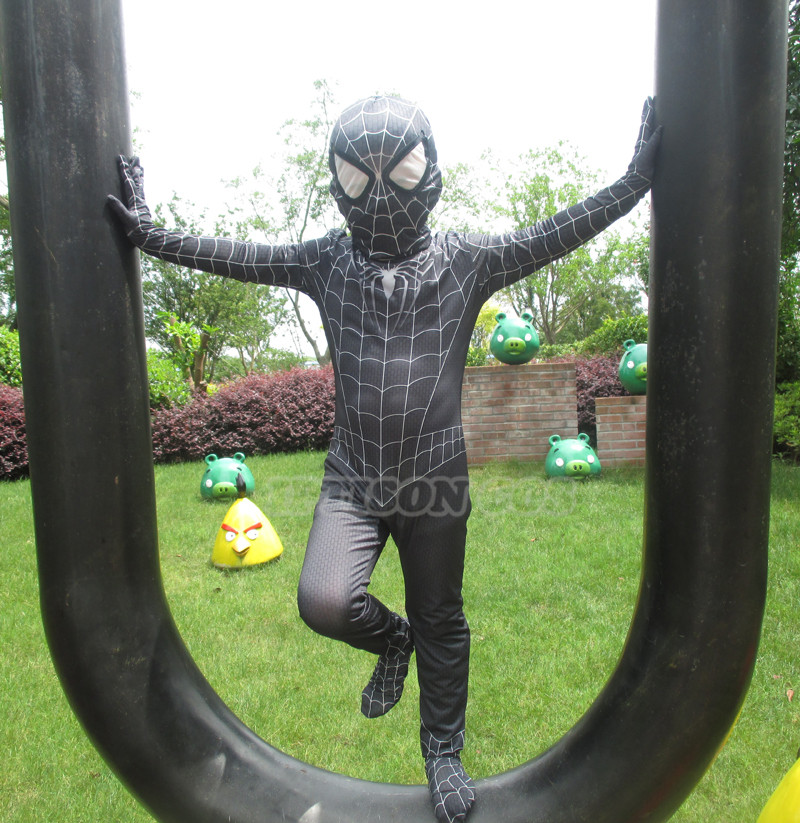 NEW Black Spiderman Boys Venom Costume Kids Superhero Cosplay Lycra Full Bodysuit Zentai Suit Halloween Child Fancy Dress 2017
