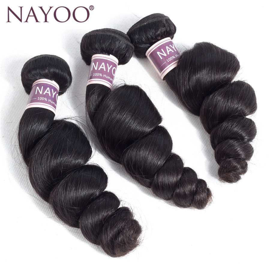 NAYOO Mongolian Loose Wave Hair 100% Human Hair Weave Bundles 100g/pc Non Remy Hair Extensions Natural Color Can Be Dyed