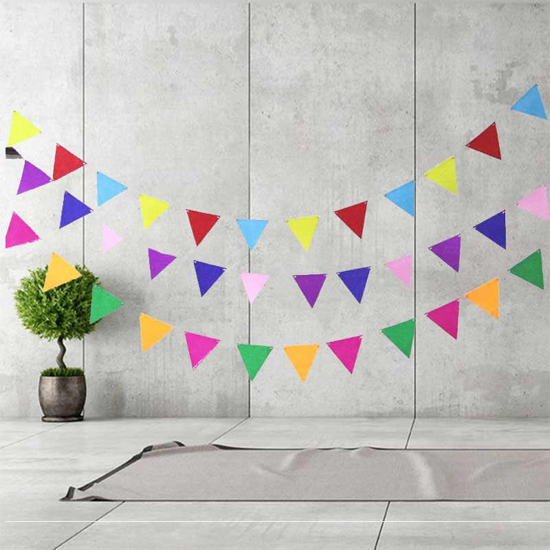 12 pcs 10x10 cm มินิธงแขวน Garland Bunting 2.5 m String Streamers งานแต่งงานวันเกิดตกแต่งผ้าแบนเนอร์ party Supplies