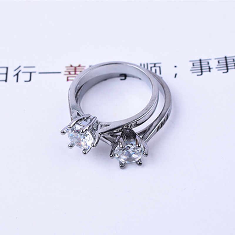 2019 חדש הגעה חיים חתונה לאדם נשים 6 טפרי כסף מצופה קריסטל טבעת 1314 אירוסין טבעת Bijoux נחמד מתנות