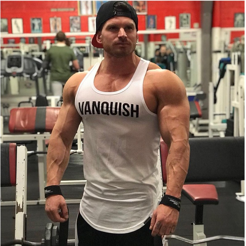 2019New Mens Vanquish Sleeveless Vest Summer Print Cotton Male   Tank     Tops   Clothing Bodybuilding Undershirt Golds Fitness   tank     top