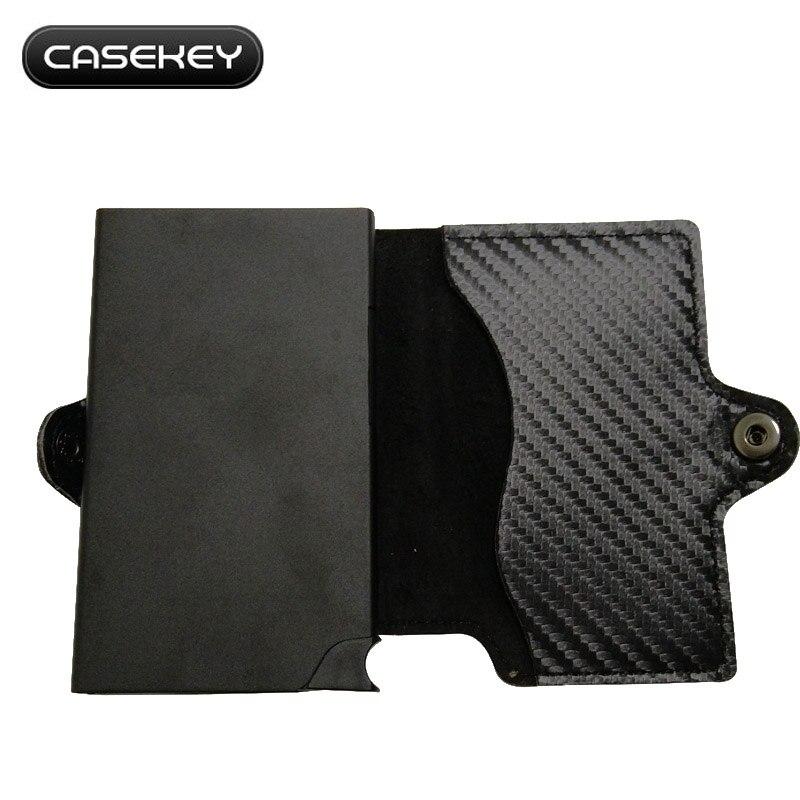 6167a3acb Portatarjetas de identificación de cuero de fibra de carbono ...