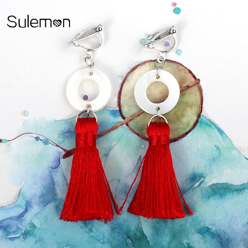 Zijde lange kwast oorbellen voor vrouwen Vintage natuurlijke Shell - Mode-sieraden