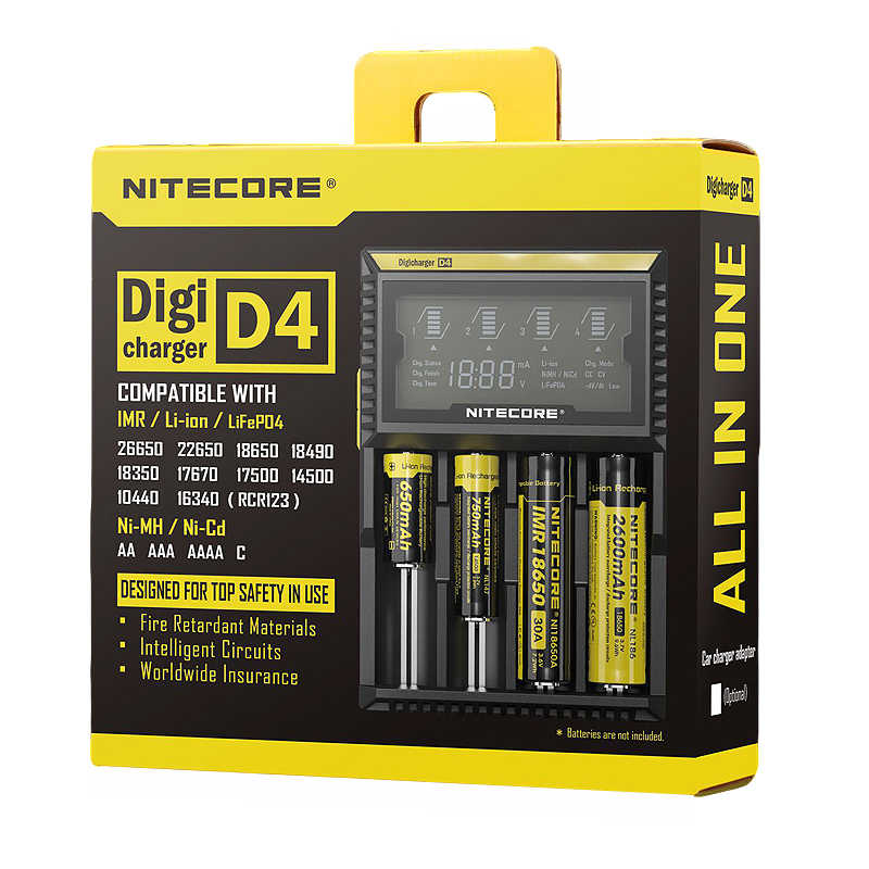 Original Nitecore D4 Batterie Ladegerät LCD Intelligente Lade für 18650 14500 16340 26650 Batterien 12V Ladegerät für EINE AA AAA Batterien