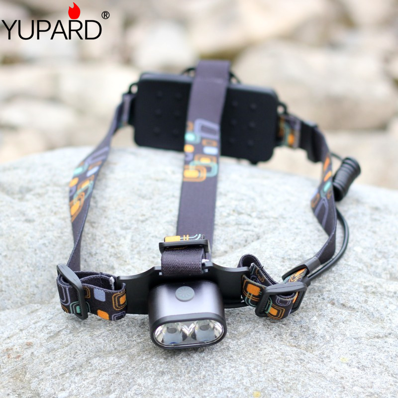 YUPARD 2*XM-L T6 LED Headlamp two T6 LED bright torch light Waterproof Camping Headlight+rechargeable 18650 battery+charger rechargeable 2000lm tactical cree xm l t6 led flashlight 5 modes 2 18650 battery dc car charger power adapter