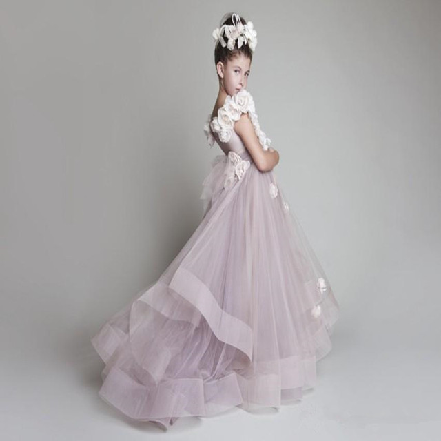 0c87612dbc Children Wedding Dress Girl's Pageant Dresses Ball Gown Straps Flowers  Pleated Organza Kids Formal Dress