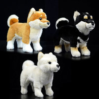 20cm Real Life Standing Black Japanese Shiba Inu Plush Toys Soft Lifelike Dog Stuffed Animal Toy Kid Toys Christmas Gifts
