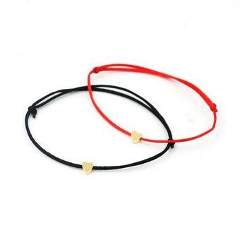 Bracelet Cordon Couple Noir et Rouge avec Coeur