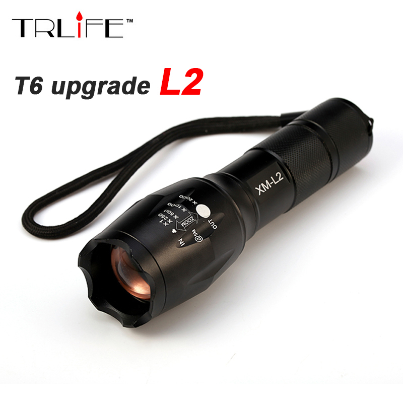 CREE XM-L2 8000 Lumens Tactical Flashlight cree Led Torch Zoomable LED Flashlight Torch light For 3xAAA or 1x 18650 Rechargeable