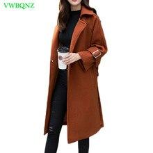 2018 New Women Coat Winter Woolen Coats Casual Belt Slim Med