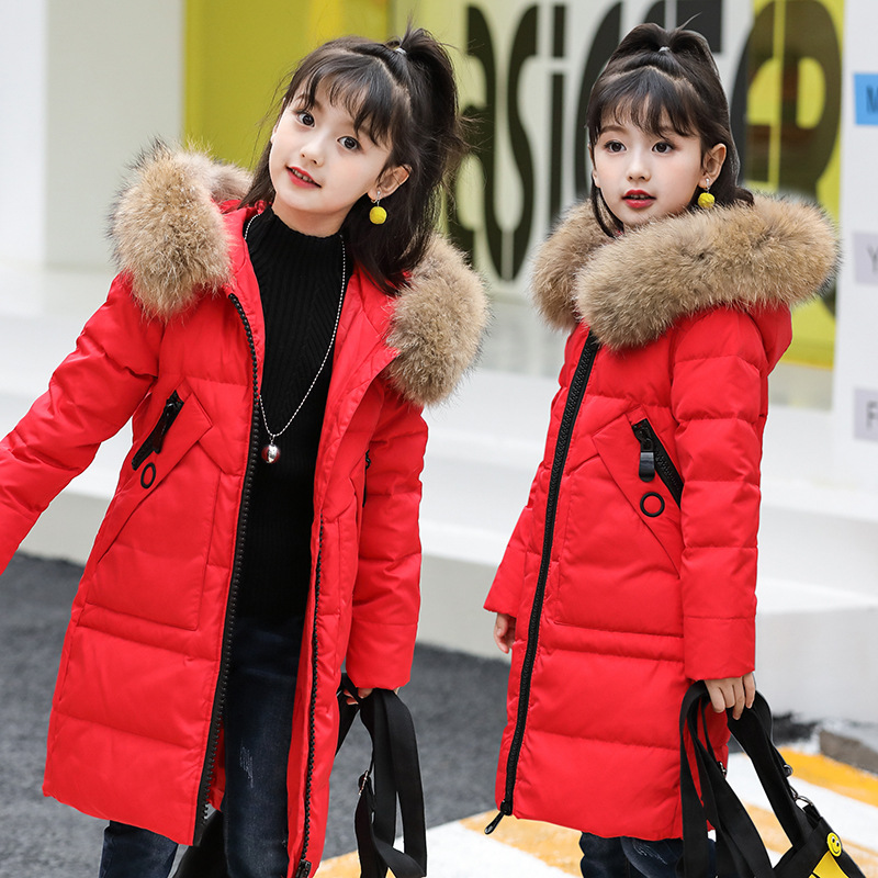 Girls Down Jacket 2018 New Cold Winter Thick Fur Hooded Long Parkas Big Girl Down Jakcet Coat Teens Outerwear Overcoat 2017 new kids long parkas for girls fur hooded coat winter warm down jacket children outerwear infants thick overcoat 3t 14t
