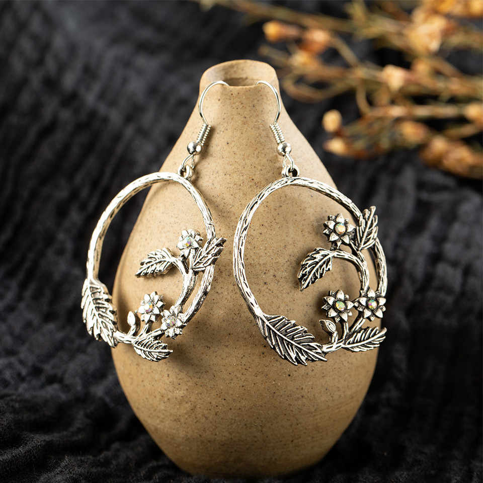 Ethnic Silver Color Earrings For Women 2019 Vintage Bohemian Geometric Leaf Big Round Circle Water Drop Earrings Indian Jewelry