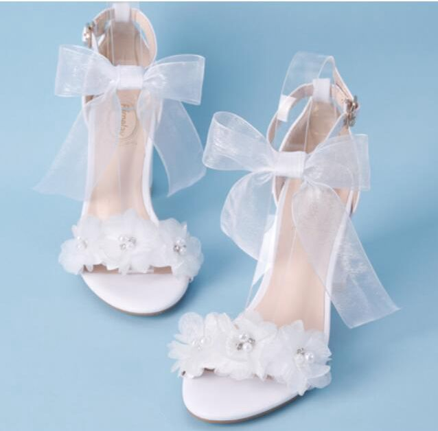 7CM block heel sweet flowers sandals shoes woman ladies white color block chunky high heeled wedding party sandals HS167 shoes sweet women s sandals with color block and flower design