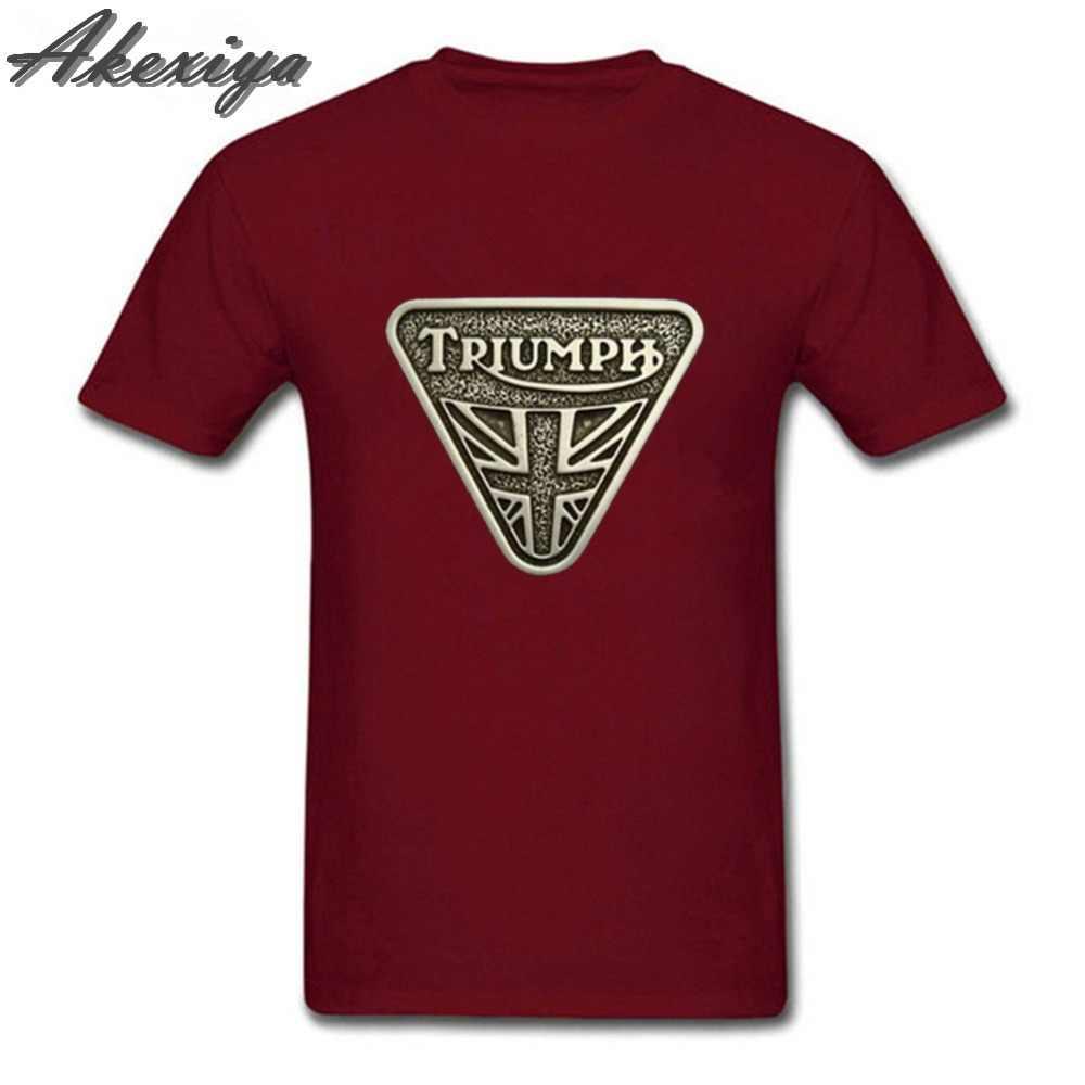 2019 новые летние модные классические мотоцикл «Триумф» футболка для мужчин Crewneck хлопок короткий рукав best качество футболки