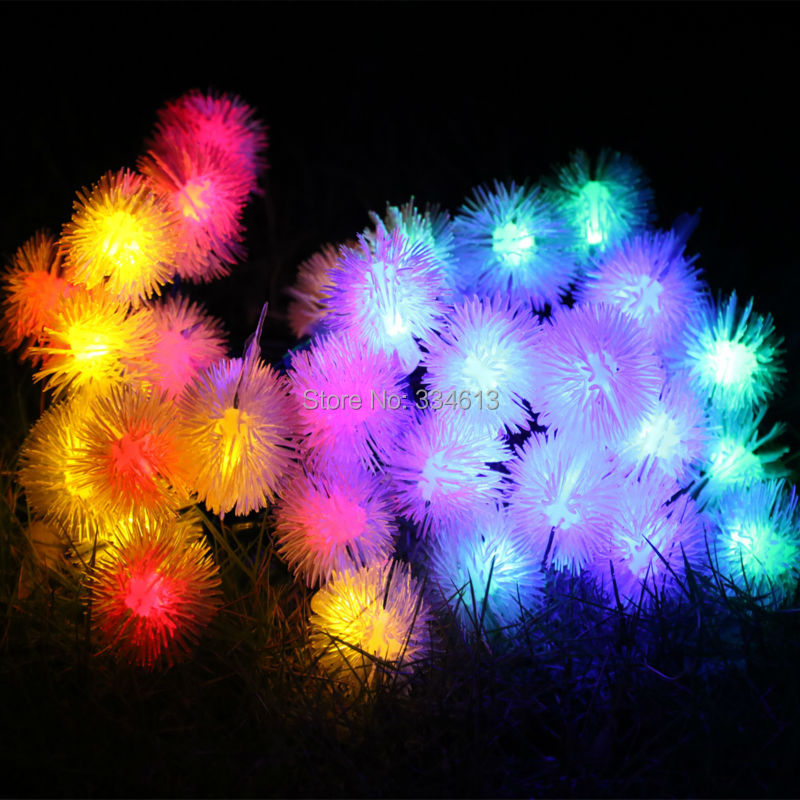Battery Powered 8 Mode 6M 30LED Fuzzy Ball Globe Shaped LED String Lights Waterproof Holiday Fairy Outdoor Rope Lights + Remote