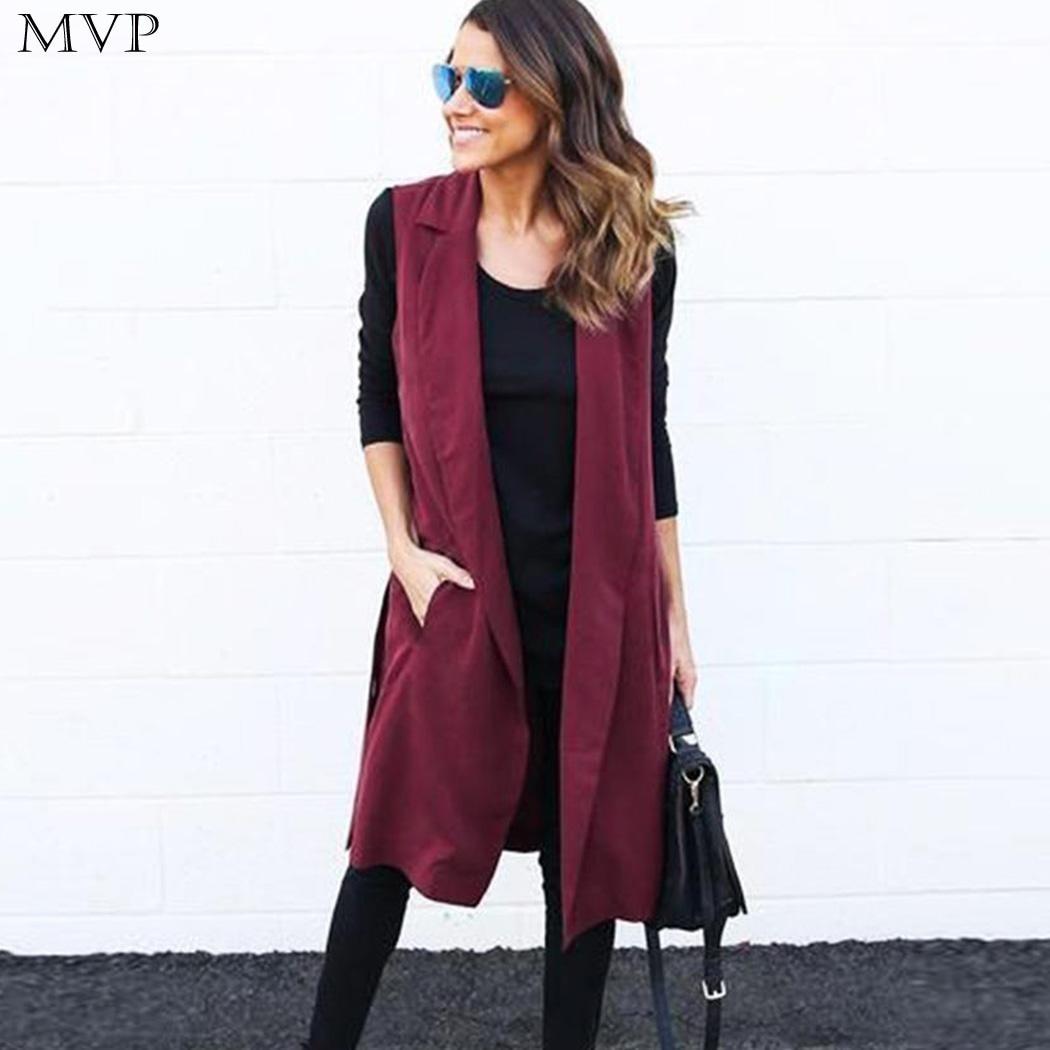 Long Vest Women 2017 Autumn Vest Women colete feminino Casual Sleeveless Solid Vest Waistcoat Lapel Collar Belt chaleco mujer