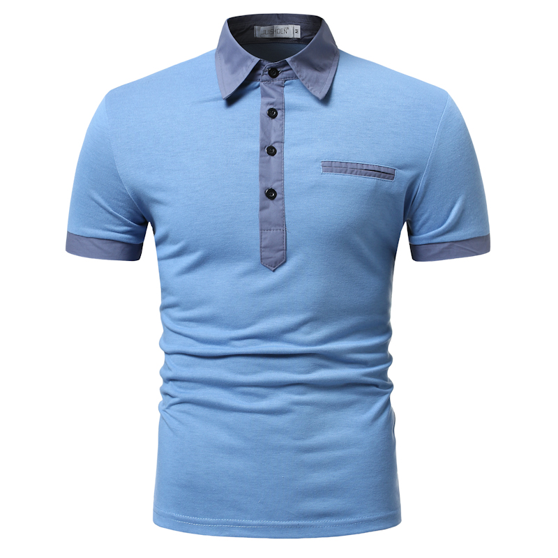 2019 New Man Polo Shirt Mens Casual Stitching Cotton Polo Shirt Polos Para Hombre Brand Men Short Sleeve High Quantity Polo Men