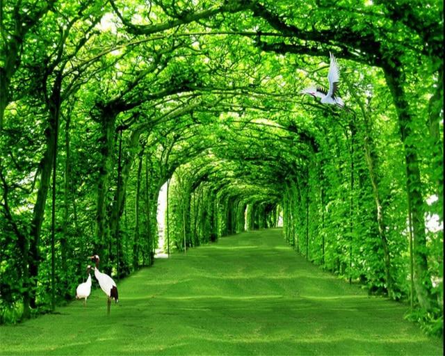 Beibehang 3D Wallpaper Natural Landscape Fresh Shade Boulevard Living Room TV Backdrop Wall Decorative