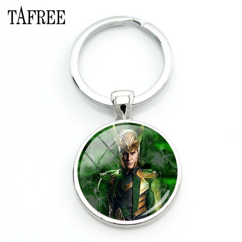 TAFREE Loki God Of Mischief Keychains Fashion Unique Art Pattern Glass Cabochon Silver Color Men Women Party Gifts Jewelry GO14