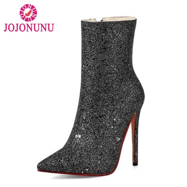 4f860377761e JOJONUN Size 31-45 Sexy Women Shine High Heel Boots Pointed Toe Thin Heels  Boots Glitter Warm Shoes Half Short Botas Women Shoes