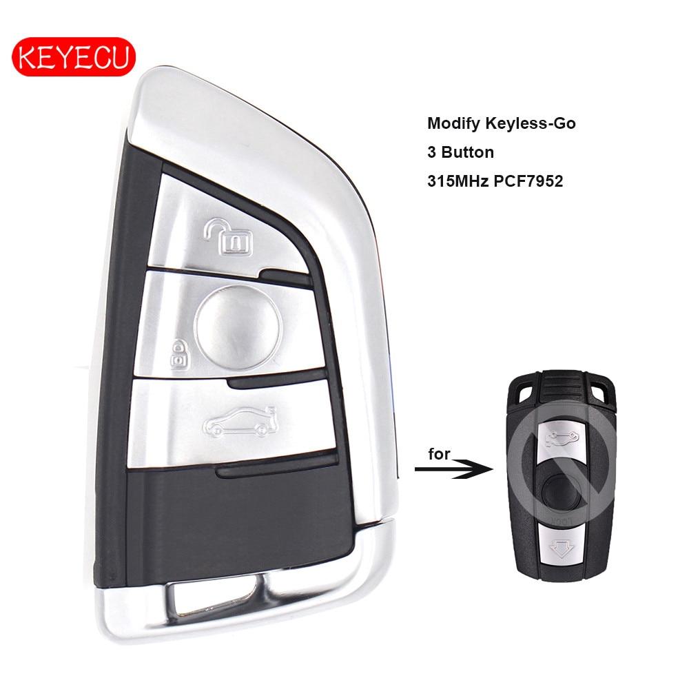 Keyecu Keyless-Go modifier la clé à distance intelligente 3 boutons 315 MHz PCF7952 pour BMW CAS3 3/5 série X5
