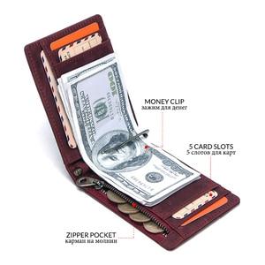 Image 5 - ติดต่อยี่ห้อDesigner Crazy Horse Cowhideหนังผู้หญิงกระเป๋าสตางค์Billfoldกระเป๋าสตางค์Slim Money ClipหญิงClamp For Moneyกรณี