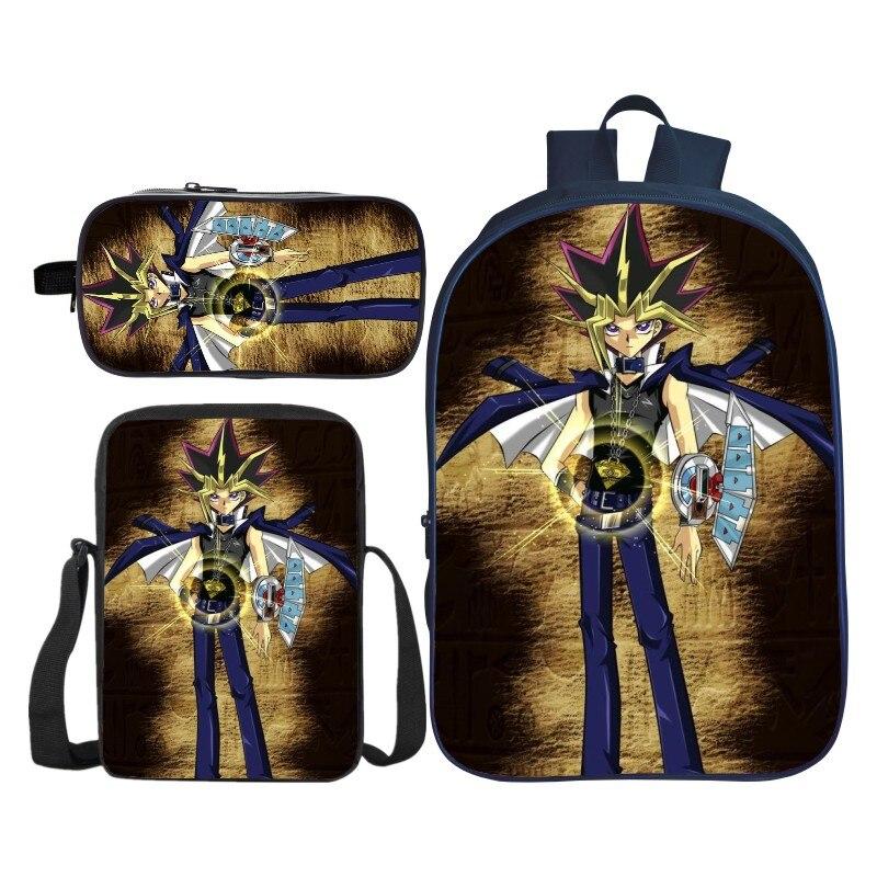 3 pièces/ensemble mode impression 3D yu-gi-oh enfants bébé sacs d'école Duel monstres sac à dos enfants épaule sac à dos pour garçons et filles