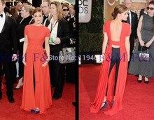 2016 neueste Einbau Sexy Lady Schöne New Fashion Frontseiten-schlitz Celebrity Maxi Backless Roter Teppich Event Abendkleider