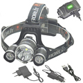 USB Head Lamp 18650 Rchargeable Headlight Waterproof Camping CREE XML U2 Lights with AC Car Charger & Cable (No Battery)