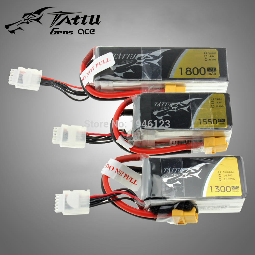 TATTU Lipo Battery 4S 14.8V 1300Mah 1550Mah 1800Mah 45C 95C 100C with XT60 Plug for RC Quadcopter FPV Drone Helicopter