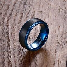 Mprainbow Для мужчин Кольца Вольфрам обручальное кольцо из карбида черный матовый синий шаг края мужской anillos Модные украшения Интимные аксессуары Bague