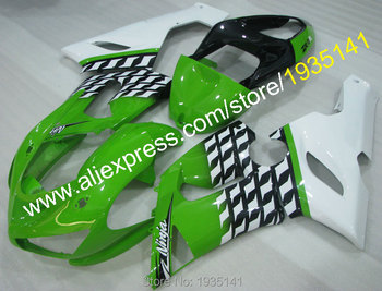 For Kawasaki ZX 6R Ninja 2005 2006 green white black fairings ZX-6R 636 cowlings ZX6R 05 06 ZX636 (Injection molding)