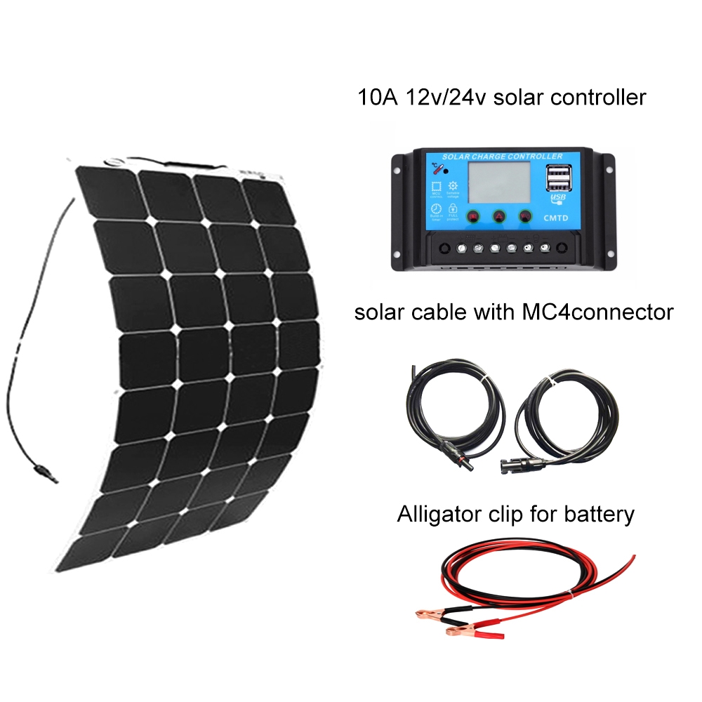 Boguang Flexible 100W Solar panel kit 12V DIY System for home complete RV Boat Kits set sunpower panels controller 10A china 50w diy kits solar panels system 50w flexible solar panel cell 12v 10a solar controller 1 set 3m mc4 cable connector 1 set clip
