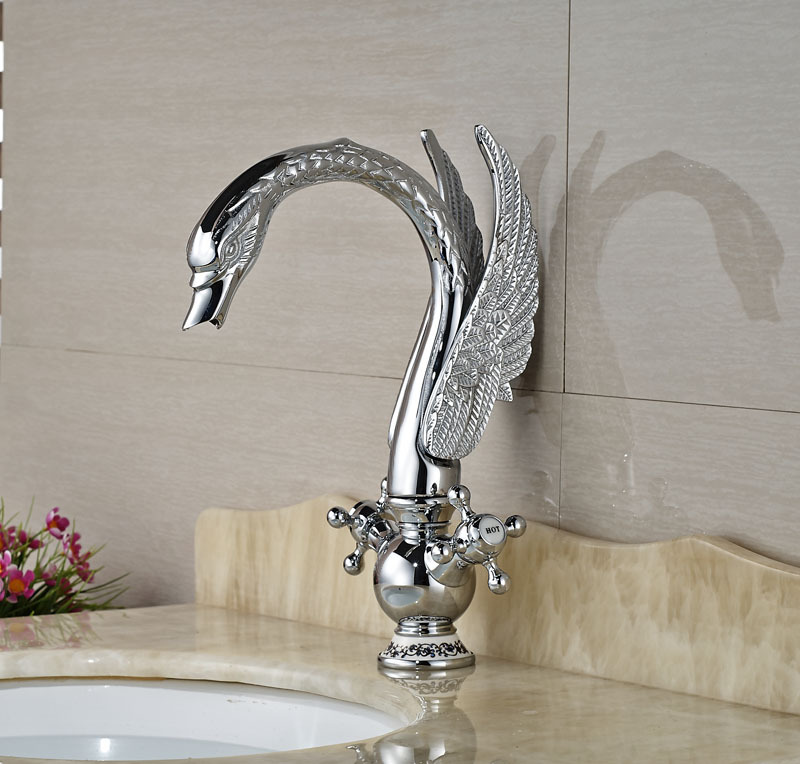 Animal Shape Chorme Polish Basin Faucet Vessel Sink