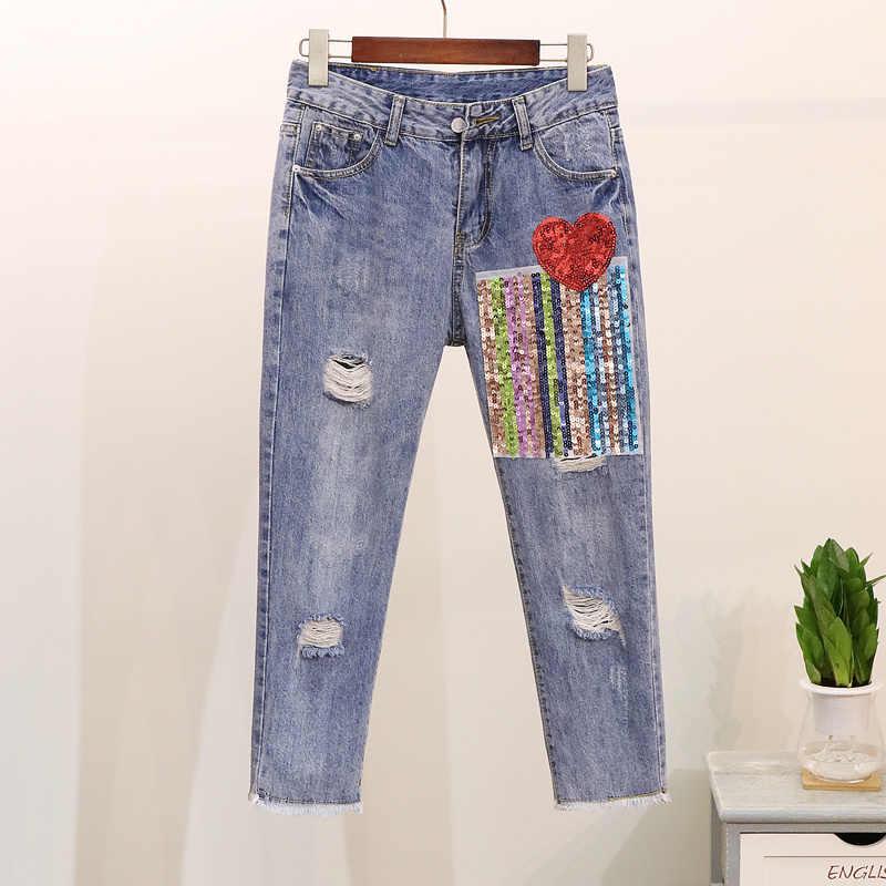 5XL 2019 ฤดูร้อน Sequined Heart เสื้อยืด Denim กางเกงยีนส์ชุดกางเกงผ้าฝ้าย Tshirt Ripped กางเกง 2 ชิ้นชุดชุดขนาดใหญ่ขนาด