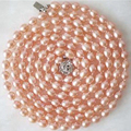7-8mm genuino natural de color rosa perla cultivada de agua dulce collar de perlas barril de arroz forma de compromiso regalo de cadena larga 50 pulgadas MY5008
