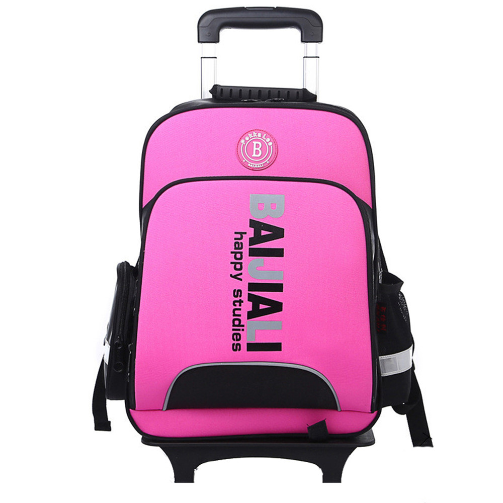 Lovely Latest Removable Children School Bags With Wheels Kids boys girls Trolley Schoolbag Luggage Book Bags Wheeled Backpack