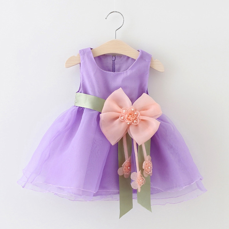 Summer Baby Girls Sleeveless Flower Bow Ball Gown Tutu Party Dress Kids Voile Princess Sundress vestidos