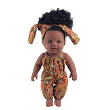Africa Girl Babay Dolls Big 30CM 12Inch Artificial PVC Soft New Born Baby Toys Thick Hair Yellow Cloths Christma