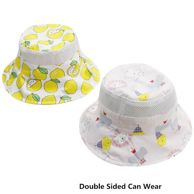 df01a2dfc7f Summer Girls Boys Sun Hats Cotton Baby Mesh Fisherman Hat Kids Visor Cap  Child Cartoon Print