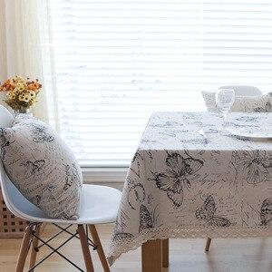 Image 3 - Campo Carta Impressão Borboleta Rendas Toalha de mesa Mesa de Jantar Retangular Sólida Capa Obrus Tafelkleed Cozinha Início Decorativa