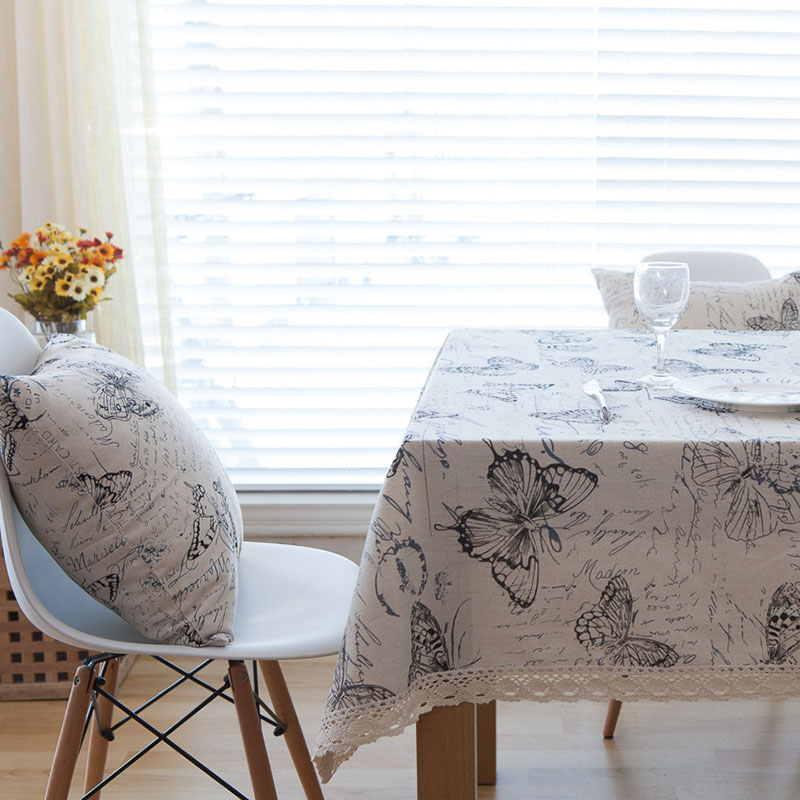Image 3 - Countryside Letter Butterfly Print Tablecloth Lace Solid Rectangular Dining Table Cover Obrus Tafelkleed Kitchen Home Decorative-in Tablecloths from Home & Garden