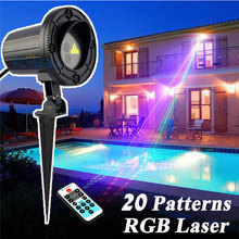 20 Patterns RGB Christmas Lights Laser Projector Outdoor Spotlight Christmas Tree Decorations For Home With IR Remote Waterproof christmas garden laser lights moving rgb stars 20 patterns projector showers outdoor waterproof ip65 rf remote for xmas holiday