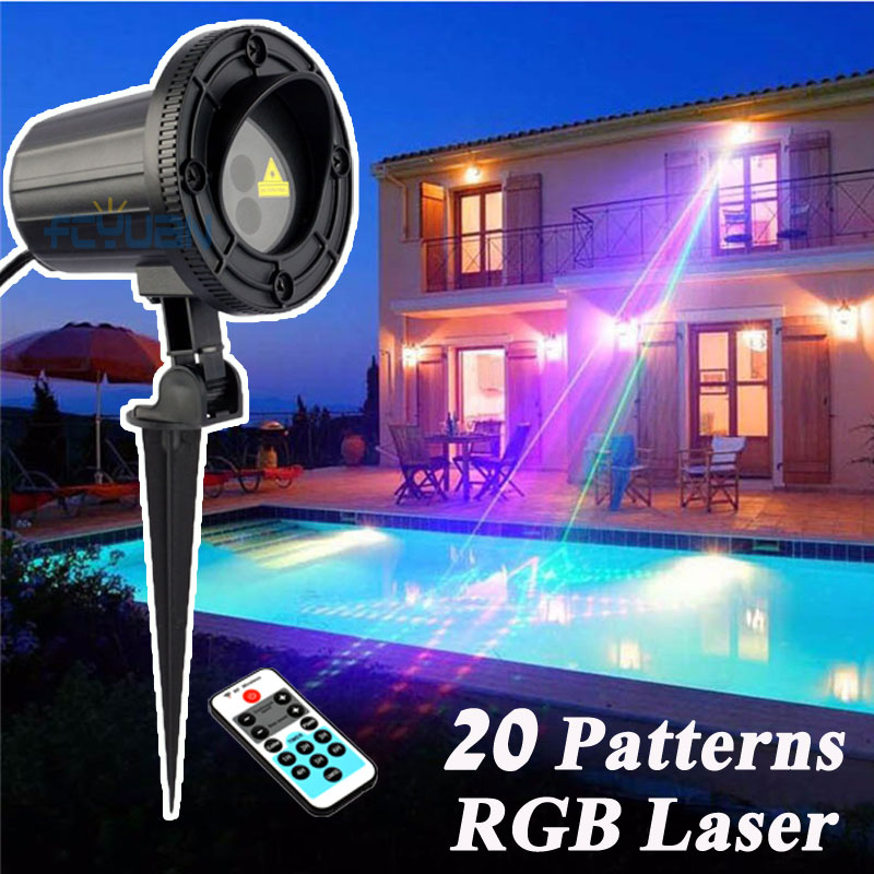20 Patterns RGB Christmas Lights Laser Projector Outdoor Spotlight Christmas Tree Decorations For Home With IR Remote Waterproof