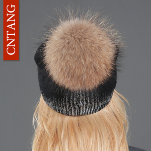 Image 5 - 2020 New Winter Beanies Ladies Knitted Wool Warm Hats Fashion Pom Pom Real Raccoon Fur Caps Skullies Hat For Women Print Fur Cap