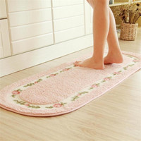Pink Rose Flower Kitchen Rugs and Carpet for Living Room Red Runner Carpet Bedroom Bathroom Welcome Home Outdoor Floor Rugs Mat