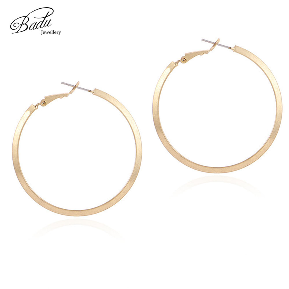 Badu Gold Hoop Earring Big Round Circle Exaggerated Punk Earrings for Women Vintage Fashion Jewelry Wholesale