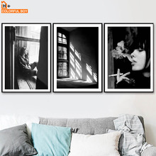 Window Girl Smoke Fog Wall Art Canvas Painting Nordic Posters And Prints Black White Wall Pictures For Living Room Bedroom Decor цена