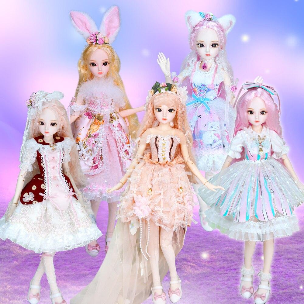 DBS 1/3 BJD Bambole 45 CENTIMETRI DQ Della Principessa di Modo bambole comune del corpo Bambole SD bianco della pelle Splendida vestiti e scarpe trucco e portatile-in Bambole da Giocattoli e hobby su  Gruppo 1